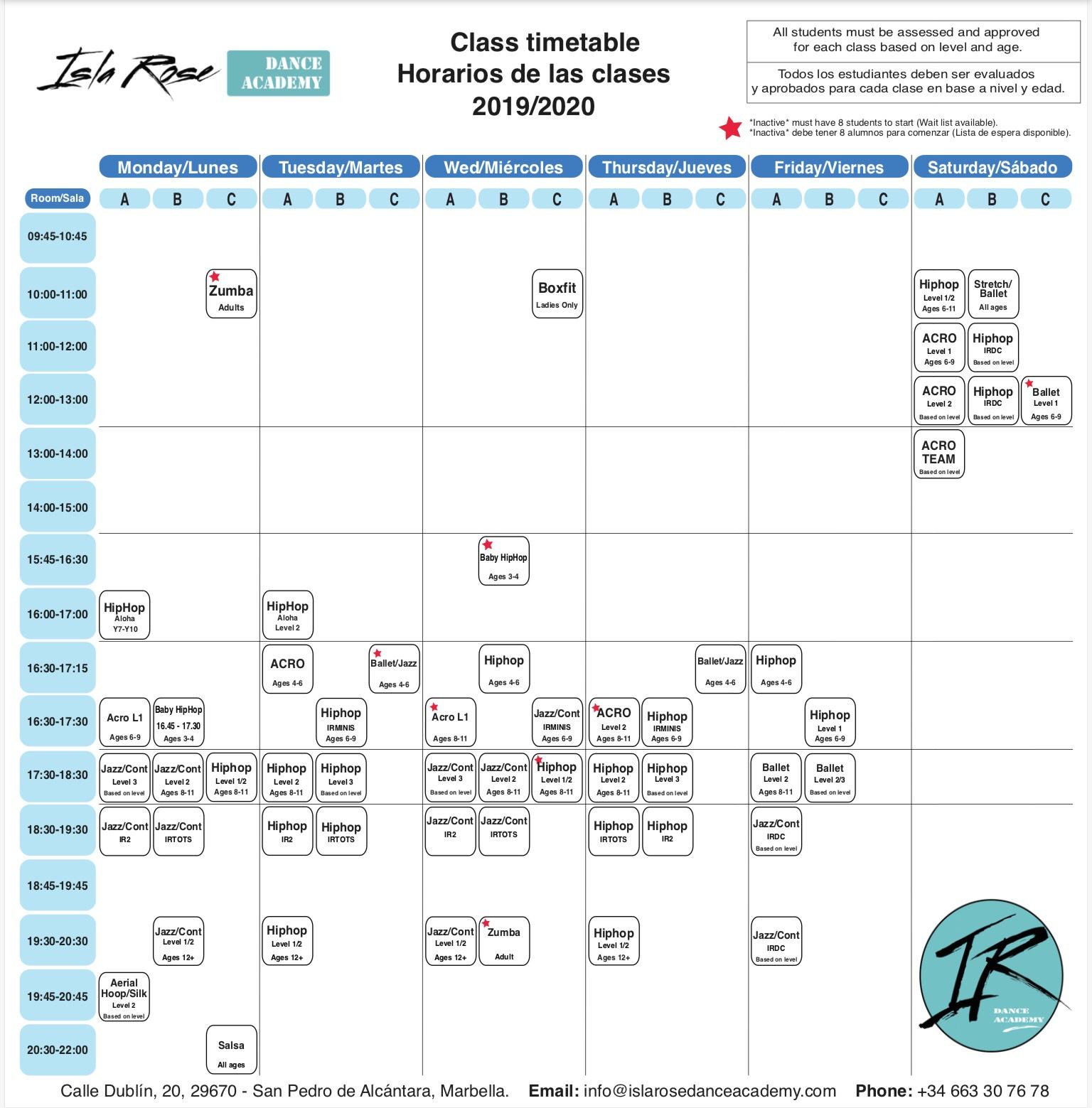 IRDA - Dance Schedule