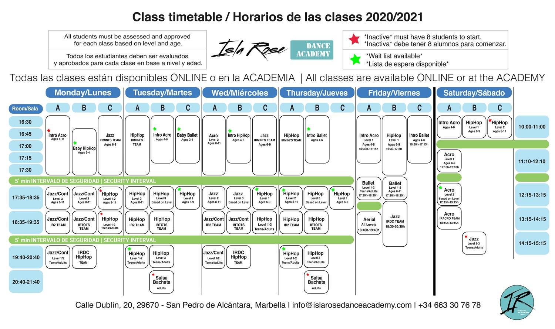 Horarios Isla Rose Dance Academy LQ