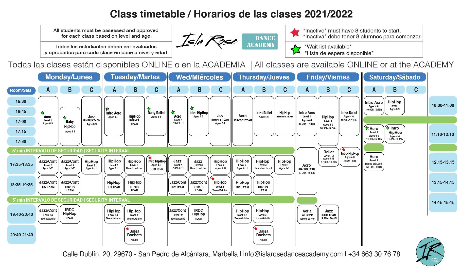 Horarios Schedule Isla Rose Dance Academy
